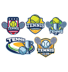 Tennis badge design set vector