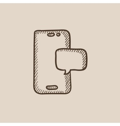 Touch screen phone with message sketch icon vector image