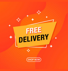 Trendy abstract geometric banner free delivery vector