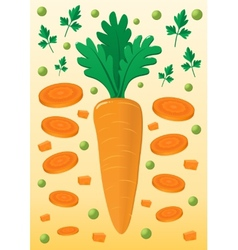 Vegetable mix with carrot and peas vector image