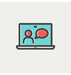Video chat online thin line icon vector image