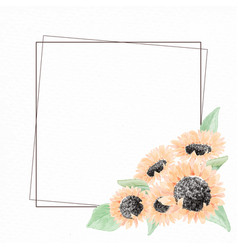 watercolor yellow sunflower bouquet wreath frame vector image