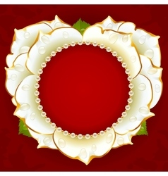 White Rose heart frame vector