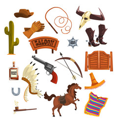 Wild west elements set cowboys accessories and vector