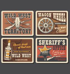 Wild west sheriff guns star western bull skulls vector