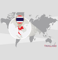 world map with magnified thailand vector image