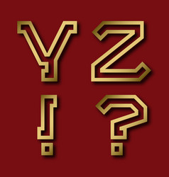 Y z gold angular letters exclamation and vector