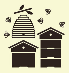beehives and bees vector image vector image