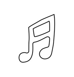 Contour musical note icon flat vector