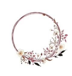 cute floral round frame Hand drawing vector image