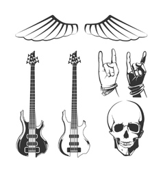 Elements for rock music recording studios vector image vector image