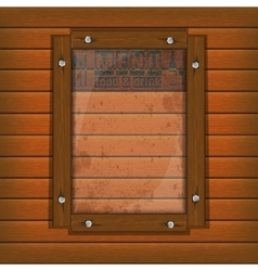 restaurant menu wooden frame and glass vertically vector image vector image