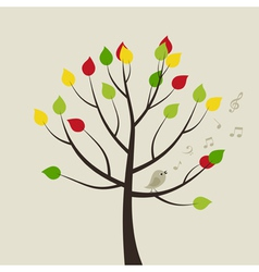 Singing bird on Tree vector image vector image