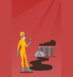 Woman in radiation protective suit with test tube vector