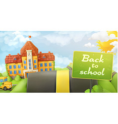 Back to school road and sign cartoon background vector image vector image