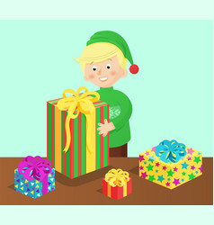 boy and presents on table vector image