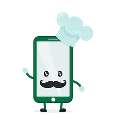 funny cute smartphone phone cook vector image vector image