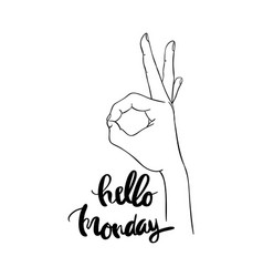 hello monday calligraphy for typography vector image vector image