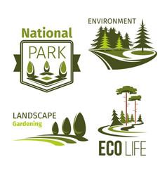 landscape gardening and ecology symbol set vector image vector image