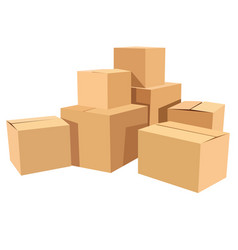 pile of stacked sealed goods cardboard boxes flat vector image