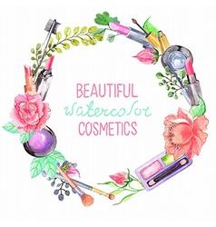 Watercolor cosmetics set vector image