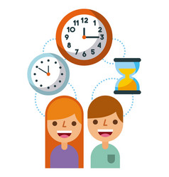 business people time work management concept vector image