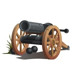 Cannon on wooden wheels and black cannonballs vector image vector image