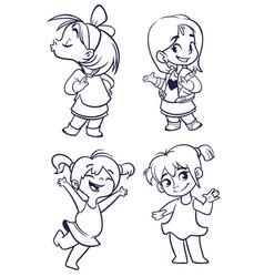 cartoon girls set vector image