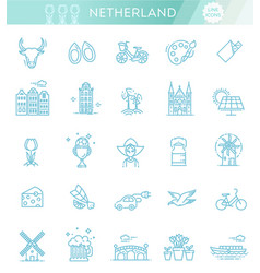 holland flat icons set vector image