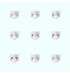 minimalistic flat cat emotions icon set vector image vector image