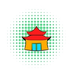Pagoda icon in comics style vector image vector image