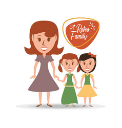 retro family mother with their daughters vector image vector image
