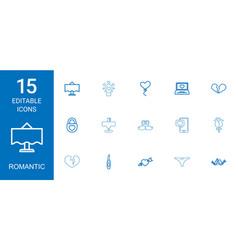 15 romantic icons vector