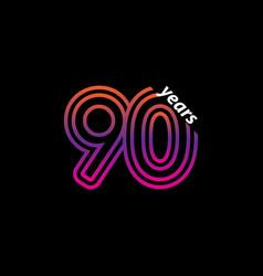 90 years anniversary celebration line color retro vector