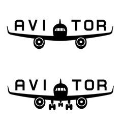 Aircraft aviator inscription black icon vector