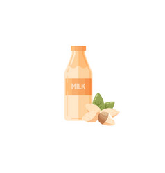 almond milk icon in flat style vector image