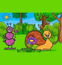 ant and snail animal cartoon characters vector image