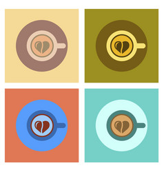 Assembly flat icons cup coffee heart vector