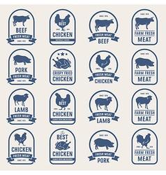 Big set meat labels 001 vector
