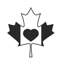 canada day maple leaf flag and heart celebration vector image