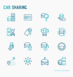 Car sharing thin line icons set vector