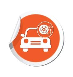 Car with wheel pump icon orange label vector