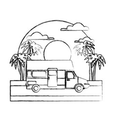 caravan car vehicle on sunset landscape vector image