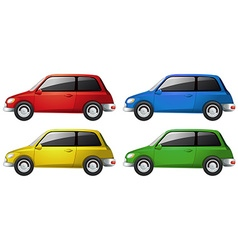 Cars in four different colors vector image