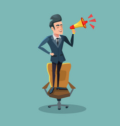 Cartoon businessman on chair with megaphone vector