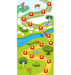 Cartoon game level map template vector