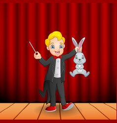 cartoon magician holding a magic wand and a rabbit vector image
