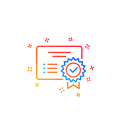 Certificate line icon verified document sign vector