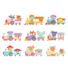 cheerful african and forest animals riding on toy vector image