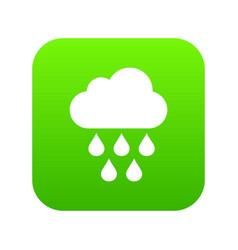 cloud with rain drops icon digital green vector image